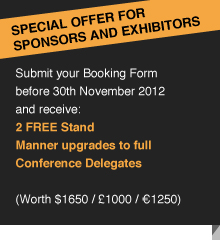 SPECIAL OFFER for sponsors and exhibitors