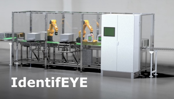 Render of identifEYE labelling cell complete with printers, guarding and two robots