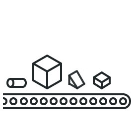 Illustration of conveyor with different sized objects illustration