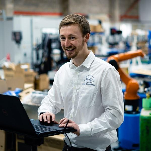 Loop employee working in the workshop.