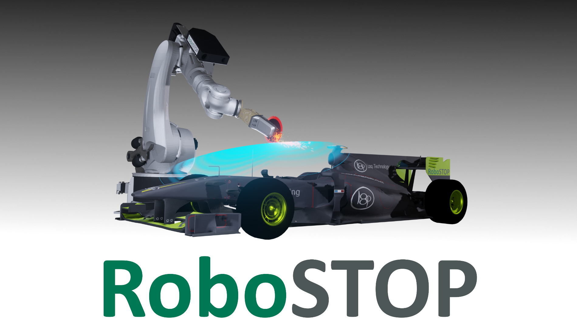 Robot Arm preventing damaging a formula 1 racing car.