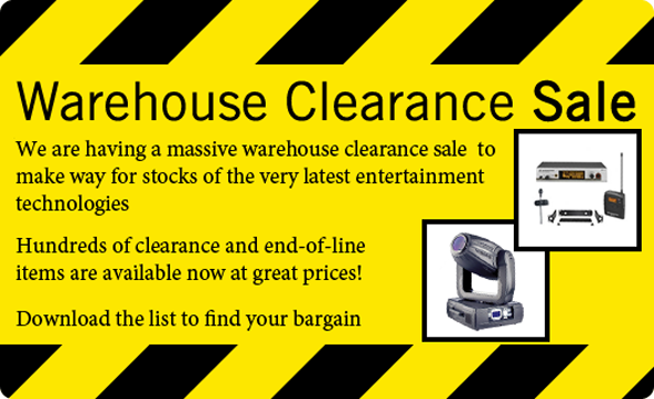 Warehouse Clearance Sale - Find out more...