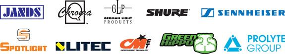 Jands, Chroma-Q, GLP, Shure, Sennheiser, Spotlight, Litec, CMET, Green Hippo and Prolyte Group