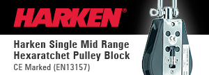 Harken Single Mid Range Hexaratchet Pulley Block CE Marked (EN13157