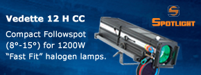 """Vedette 12 H CC Compact Followspot (8°-15°) for 1200W """"Fast Fit"""" halogen lamps...Find out more"""