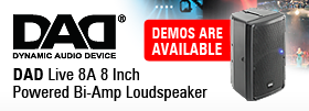 DAD - Dynamic Audio Device - Live 8A 8 Inch Powered Bi-Amp Loudspeaker - Active loudspeaker, AB-class bi-amp, 2-way 100W+50W, 117dB SPL