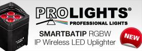Prolights SMARTBATIP 4 x 8w RGBW/FC IP65* Wireless LED Uplighter, Battery LED Projector,15°, 12h, WiFi