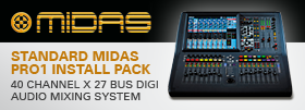Standard Midas PRO1 Install Pack. 40 Channel x 27 Bus Digital Audio Mixing System